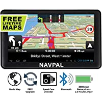 SLIMLINE SAT NAV, 7 Inch with Bluetooth + 2019 World Maps [Pre-Installed] + FREE Lifetime Map Updates, GPS Navigation for Car Truck Motorhome Includes Postcodes, Speed Camera Alerts & POI