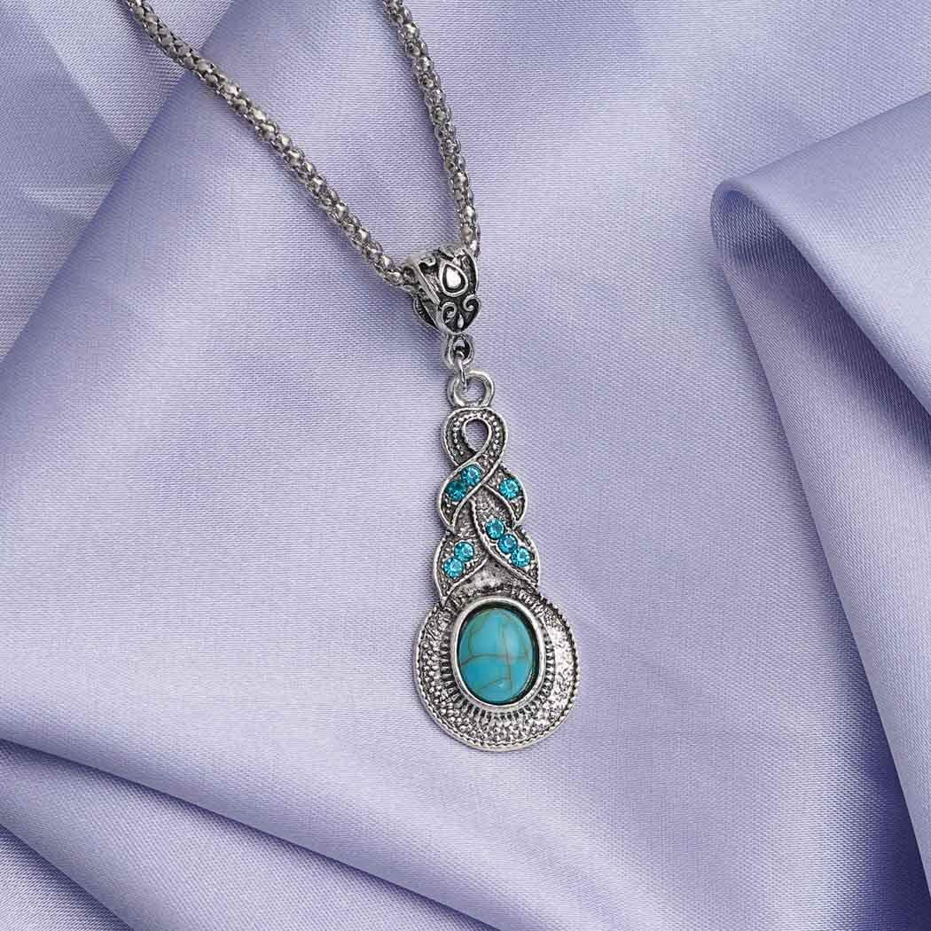 Asooll Bohemian Turquoise Necklace Chain Silver Water Drop Blue Beaded Necklace Pendant Fashion Jewelry for Women