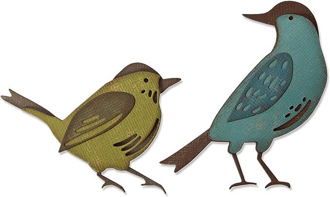 Stanzschablone Zweig mit einem Vogel Big Shot kompatibel
