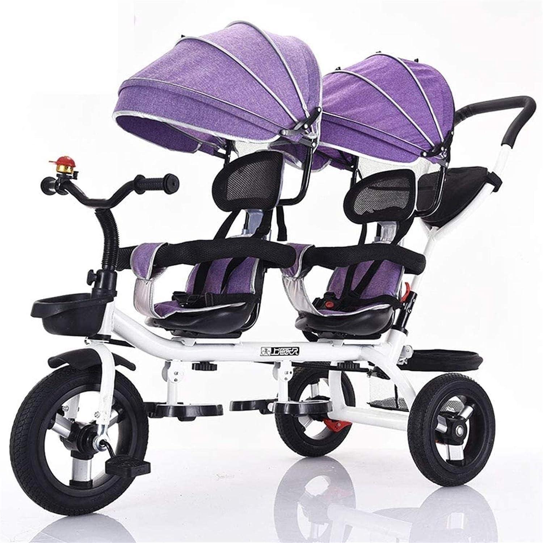 Triciclo gemelo de cuatro en uno para niños, bicicleta de dos plazas, cochecito con sombrilla, asiento giratorio bidireccional / mango de empuje trasero extraíble / pedales retráctiles, Color: púrpura