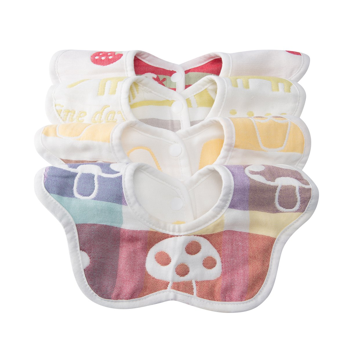 Cute Baby Drool Bibs 4 Pack - Soft Breathable & Comfortable 100% Organic Cotton bibs - Bandana Drooling Scarf for Feeding Babies & Toddlers From 3 Month - 3 Years Kids | Reversible & Rotational Design bib(colorful nature love) Yesay
