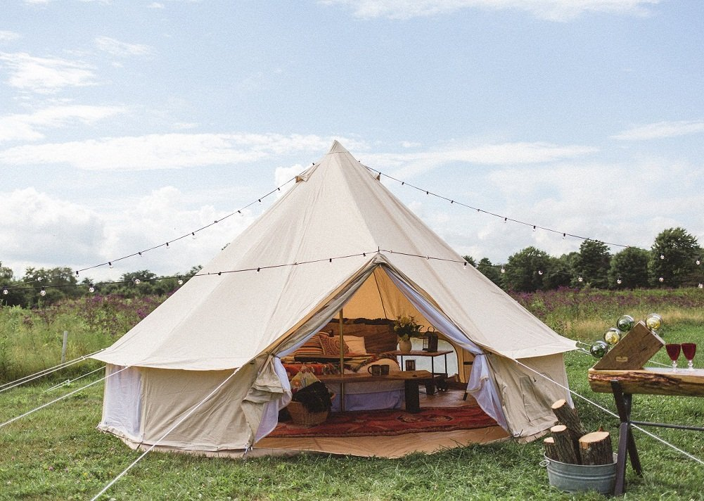 Amazon.com : Dream House Luxury Outdoor Waterproof Four Season Family  Camping And Winter Glamping Cotton Canvas Yurt Bell Tent With Mosquito  Screen Door And ...