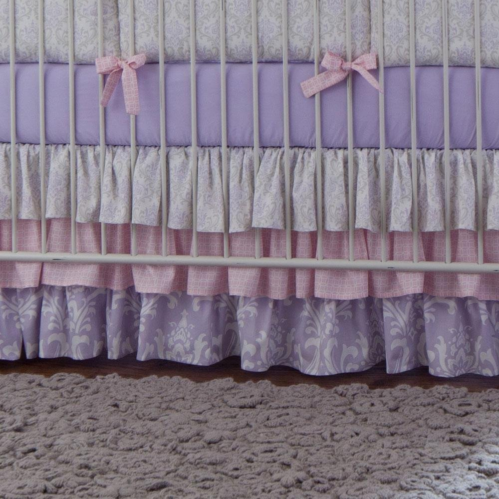 Carousel Designs Lilac and Silver Gray Damask Crib Skirt Three Tier 18-Inch Length by Carousel Designs