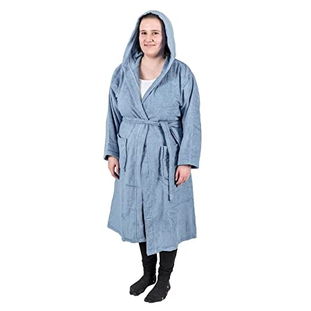 Homescapes Blue Adults Dressing Gown Luxury Hooded 100% Egyptian Cotton  Terry Towelling Unisex Bathrobe ba1d8d029