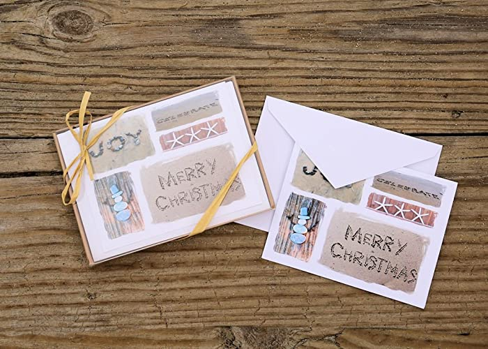 beach themed christmas cards set of 8 collage style sentiment cards joy celebrate - Beach Themed Christmas Cards