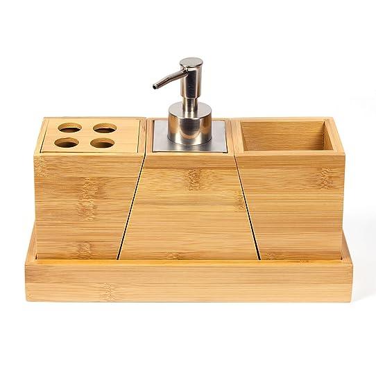 Woodluv Lot de 3 Gratuits en bambou Distributeur de savon