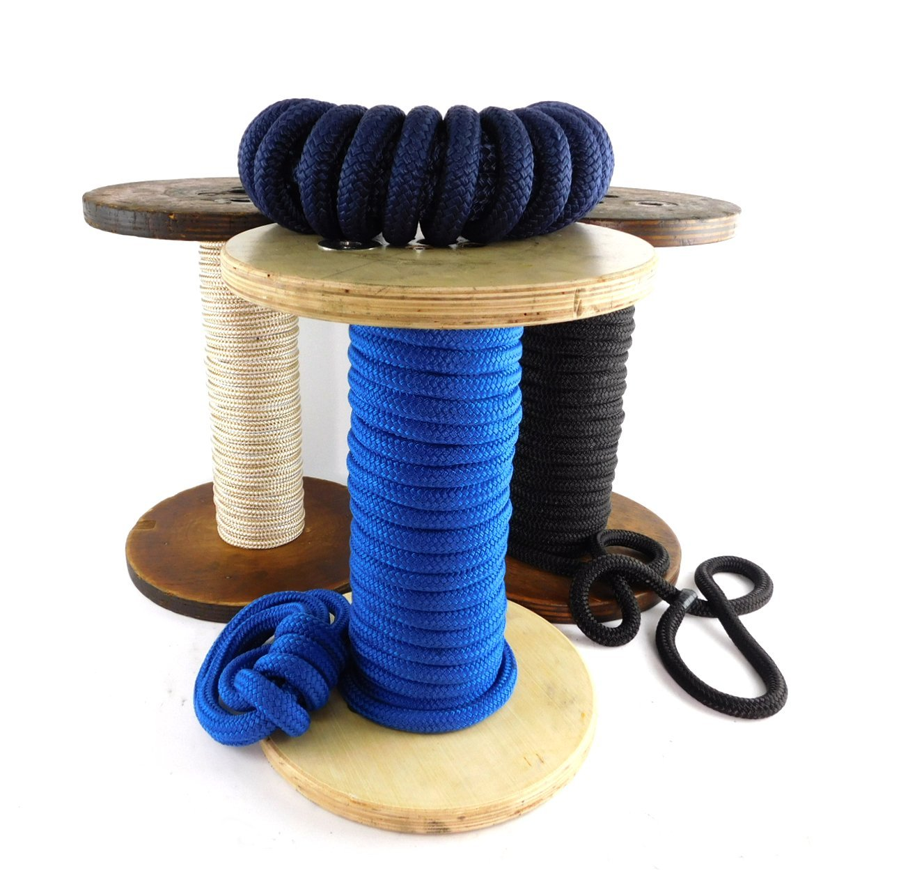 Ravenox by FMS Double Braid Nylon Rope - (Blue)(5/8'' x 25 FT) Strong Braided Nylon Cord Yachts, Dock Lines, Anchor Rope, Mooring Lines & General Purpose | Made in The USA