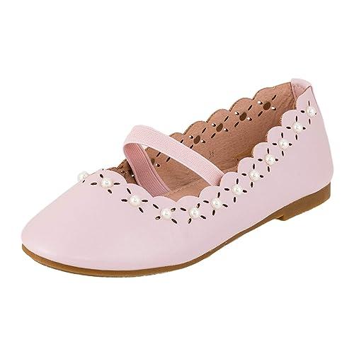 Doremi Festliche Mädchen Ballerinas Schuhe mit Perlen und Gummi Riemchen