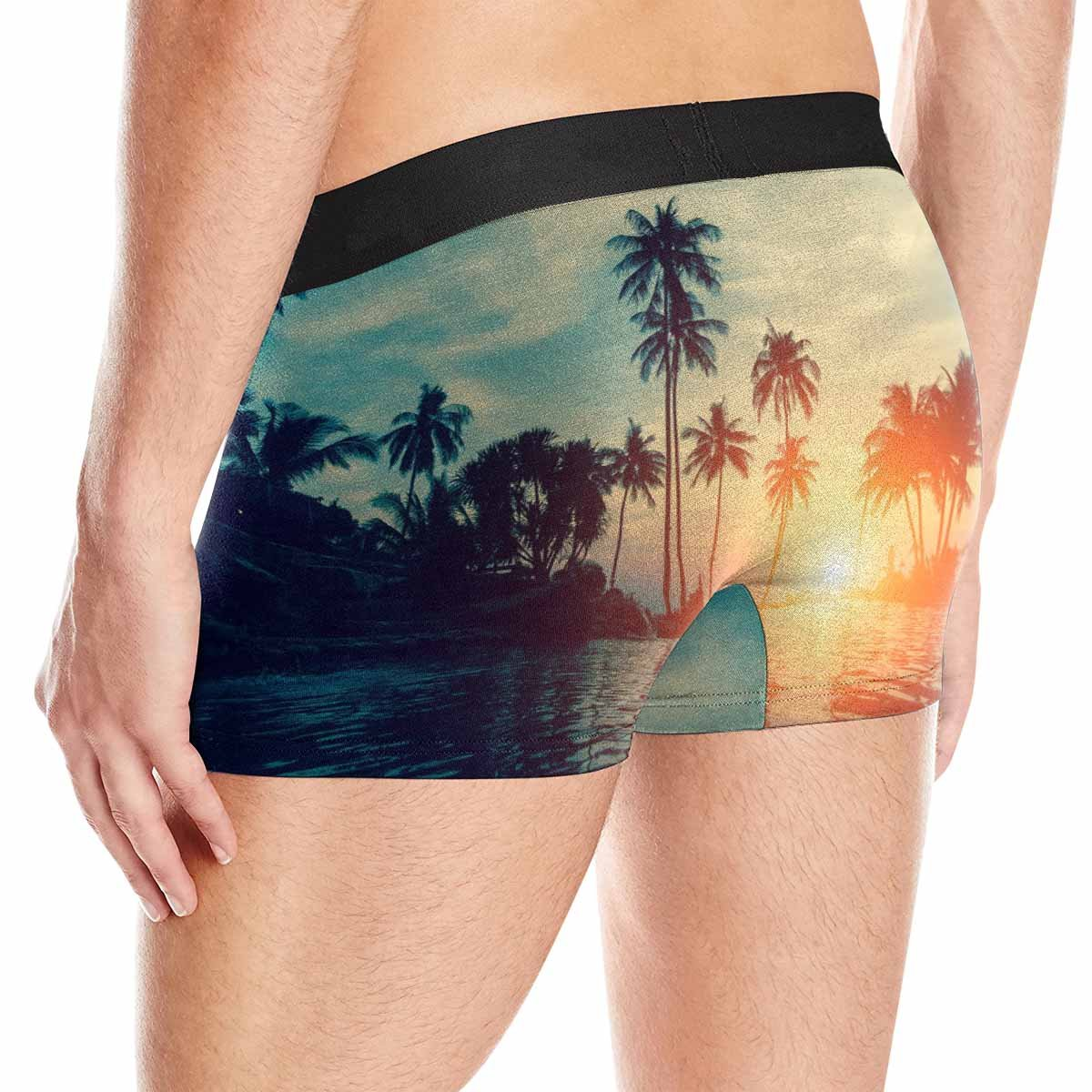 INTERESTPRINT Custom Mens All-Over Print Boxer Briefs Beautiful Tropical Beach with Palm Trees Silhouettes at Dusk XS-3XL