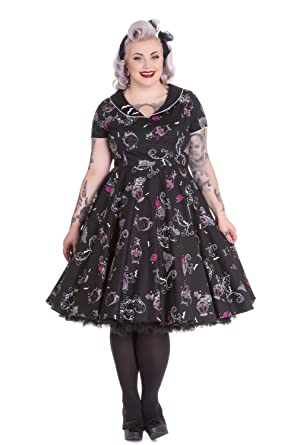 Hell Bunny Plus Size Gothic Beauty And Glam Black Swing Party Dress