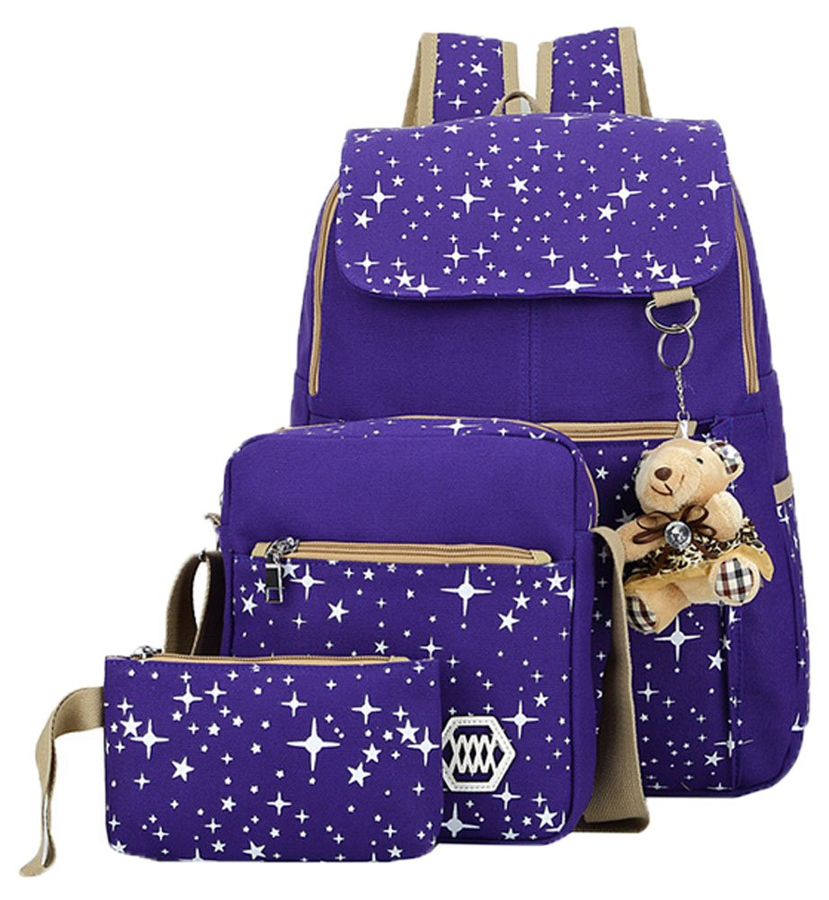 Shmily_B Womens Preppy Style Backpack Pure Cotton Canvas Hiking Bags 3 Piece Set (Purple)