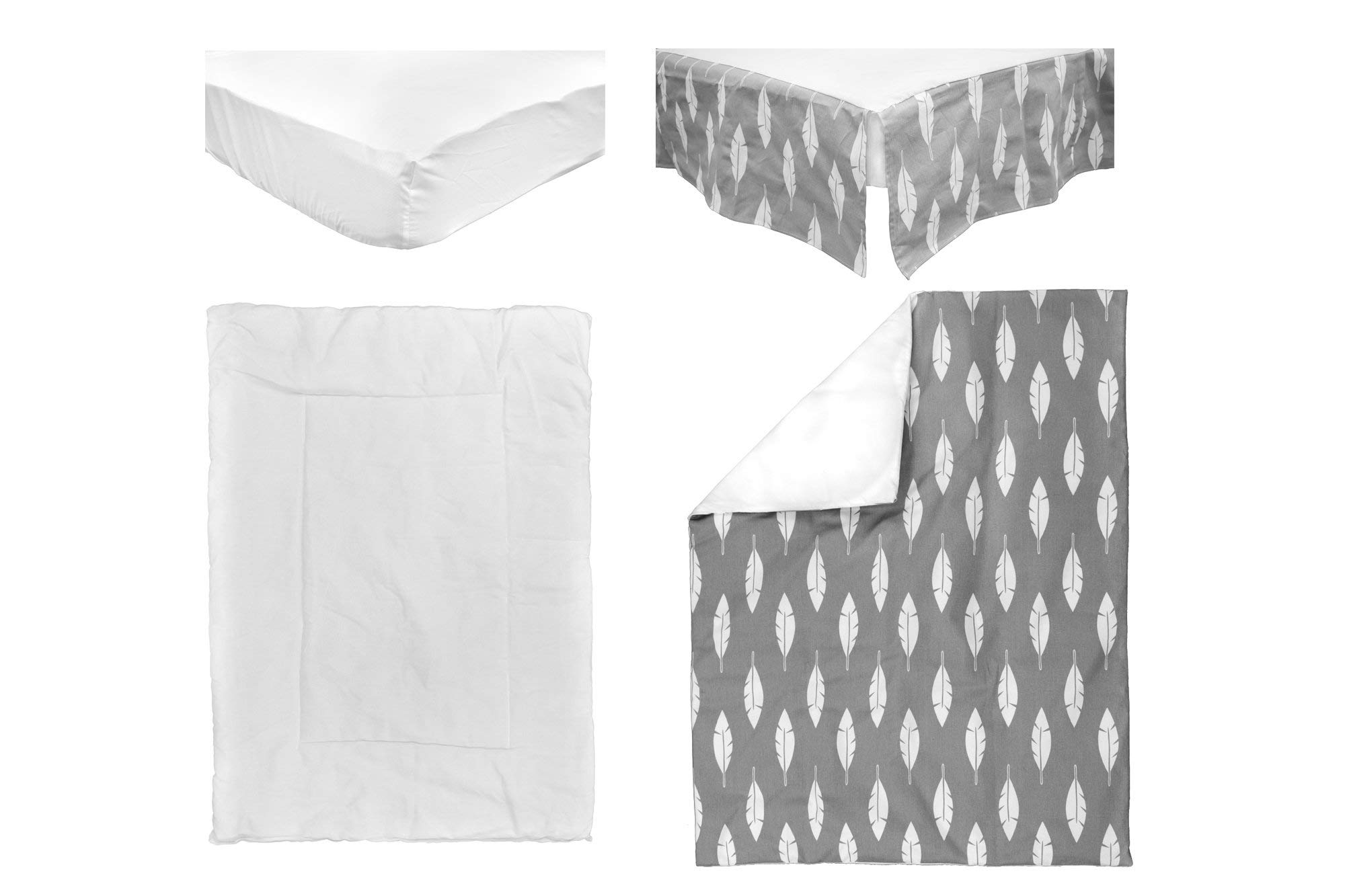 BOOBEYEH & DESIGN Baby Crib Bedding 4 Piece Set, Perfect for Baby Girls and Boys, Includes Gray and White Feather Design, Fitted Sheet, Crib Comforter, Comforter Cover, Skirt. by BOOBEYEH & DESIGN (Image #7)