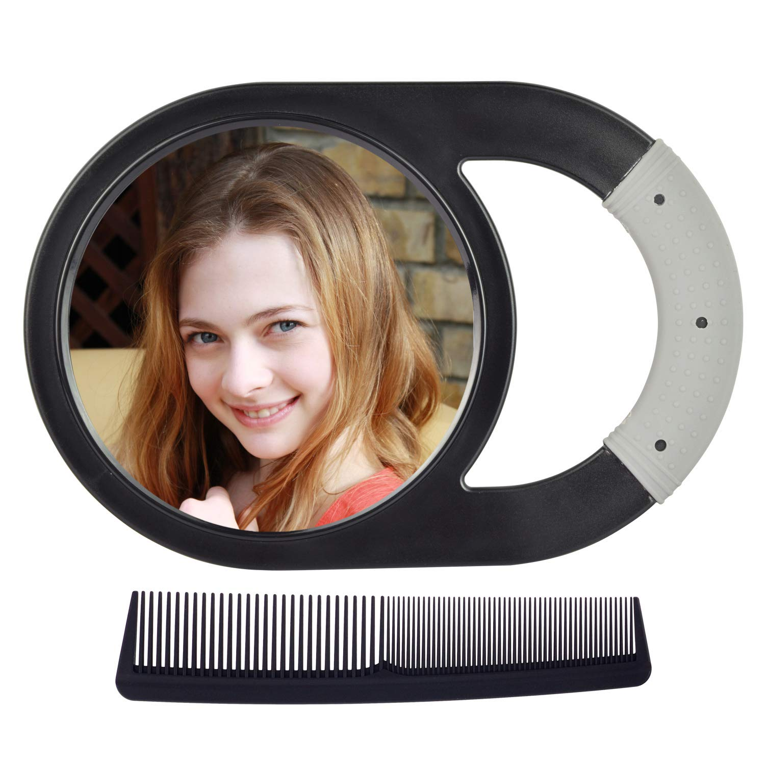 Hand Mirror, Unbreakable Handheld Mirror with Silicone Handle for Personal Beauty, Hair Salon or Barber Shops, Come with Free Gift Anti-static Carbon Combs