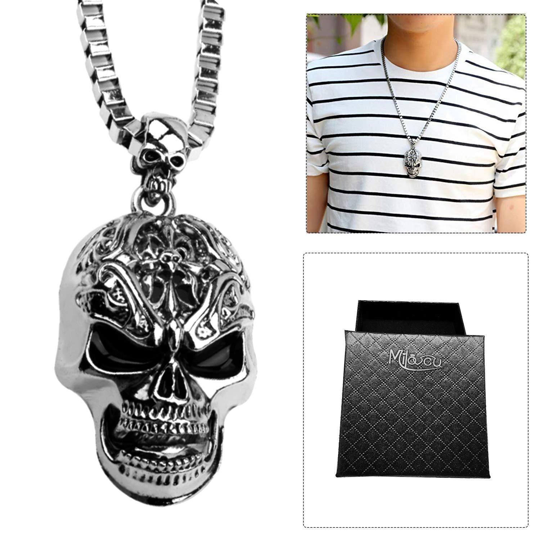 b9c1d10703e16 MILOVE-U Skull Necklace for Men Skull Pendant | Amazon.com
