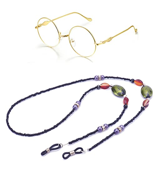 3d4159a87fca Image Unavailable. Image not available for. Color  Eyeglass Chain Beaded  Reading Glasses Lanyard Glasses Retainer Strap Sunglasses Holder ...