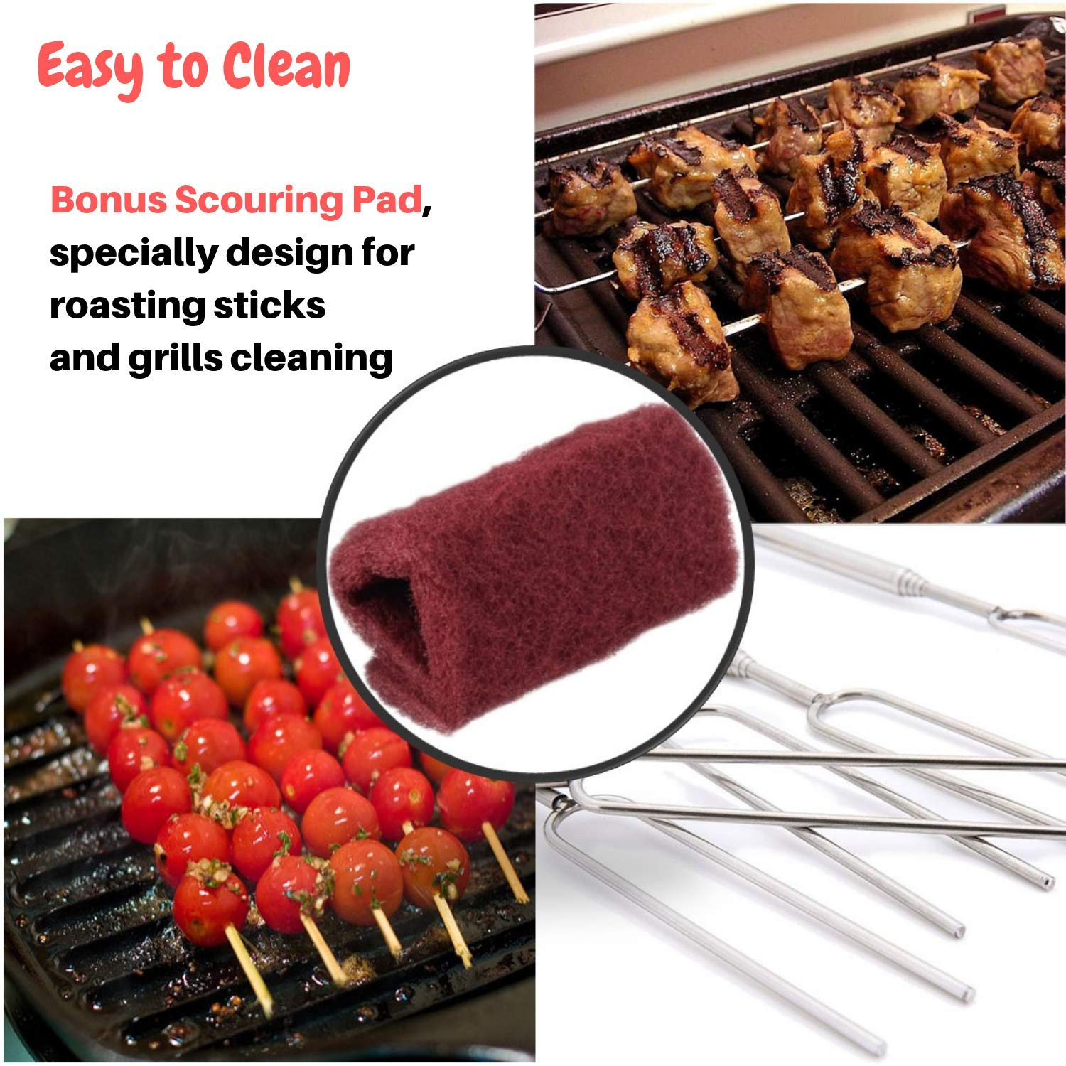 Marshmallow Roasting Sticks Extending Roaster Set of 8 Telescoping Smores Skewers & Hot Dog Forks 32 Inch Fire Pit Camping Cookware Campfire Cooking Kids with FREE Bag