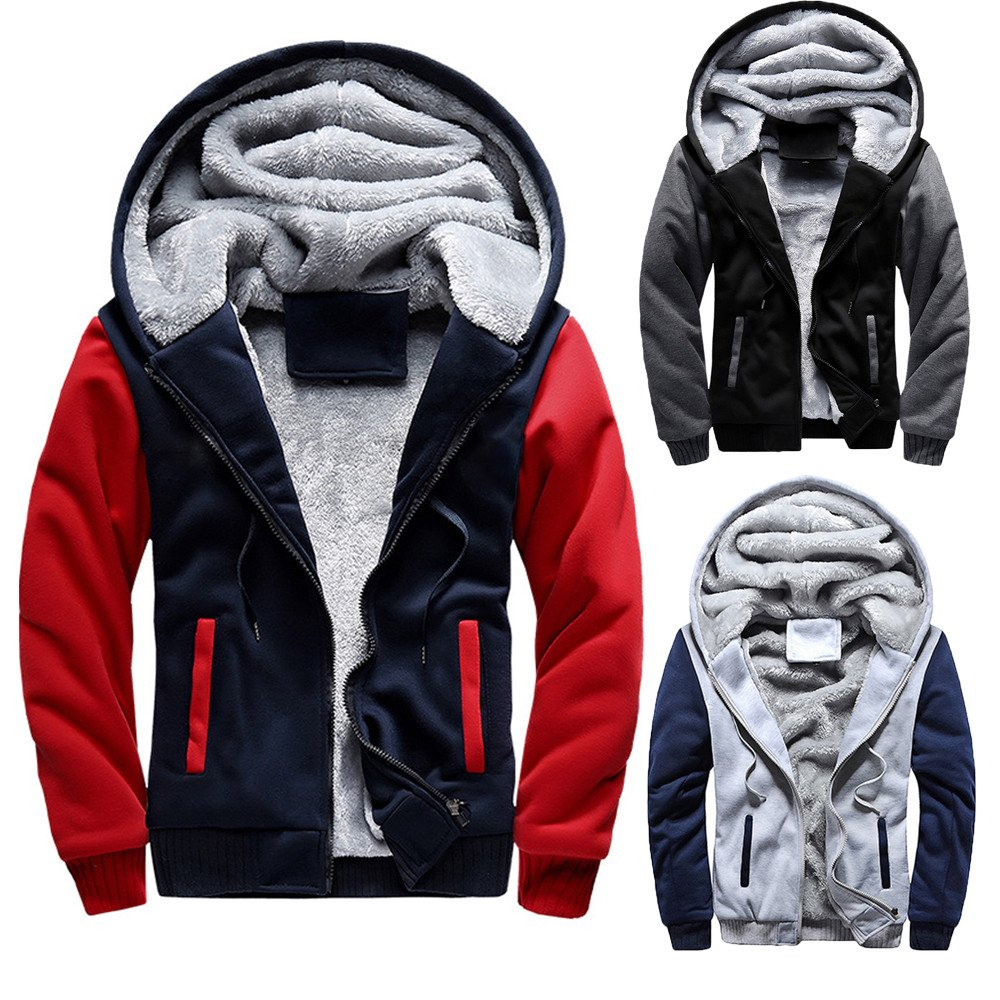 ❤ Mens Hoodie Sweatshirt//Jumper Jacket Hoodie Winter Warm Fleece Zipper Outwear Coat Slim Tops M-5XL