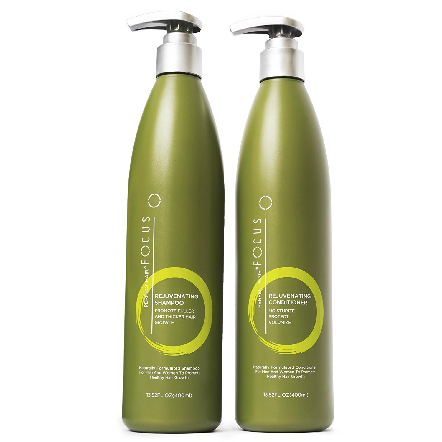 Natural Shampoo and Conditioner - Paraben and Sulfate Free Infused with Jojoba, Coconut, Argan Oil and Biotin - Color Safe Formula Promotes Hair Growth - Includes Pump - 13.5 ounce (1 Pack) by Perfect Hair