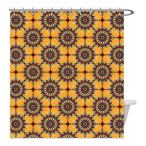 Liguo88 Custom Waterproof Bathroom Shower Curtain Polyester Arabian Decor Collection Traditional Old Fashion Arabesque Islamic Mosaic Triangle Patterns in Retro Artful Ancient Multi Decorative bathr by liguo88