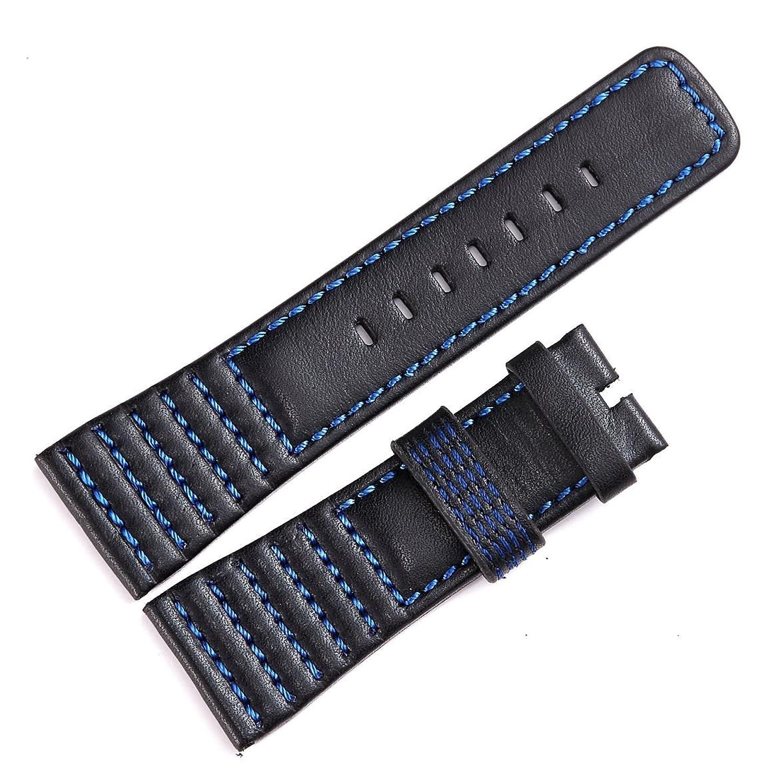 メンズ本革時計バンドストラップ28 mmソフト牛革レディースリストバンド blue line  B075N8SBGQ