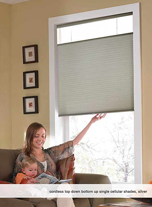 amazoncom cordless top down bottom up cellular honeycomb shades 22w x 36h white any size wide home u0026 kitchen - Top Down Bottom Up Blinds