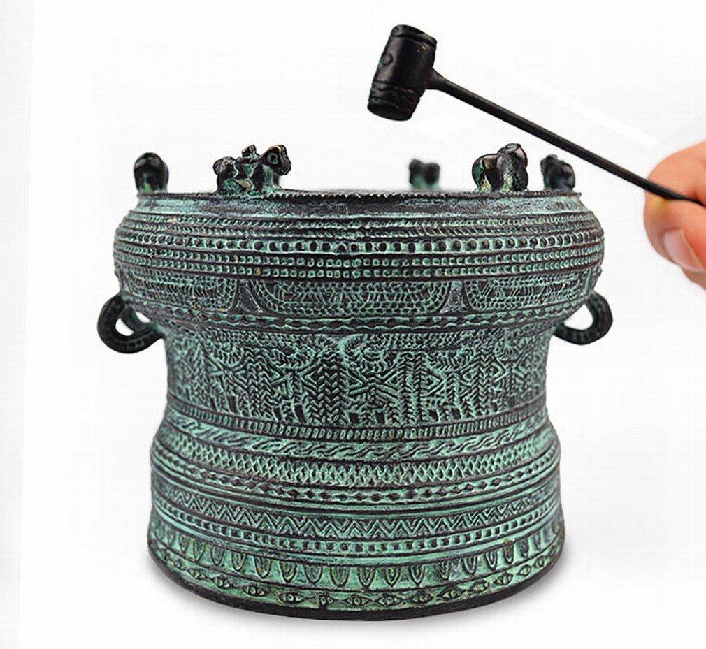 HM Cuivre Antique Bronze Tambour Artisanat Antique Exquis Accessoires Pour la Maison Ornements -A