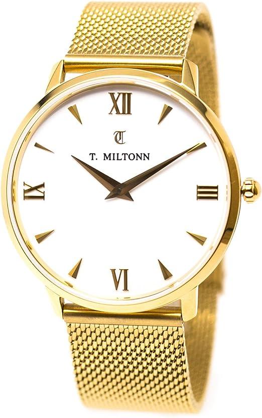 Achat Montre 36mm boîtier plaqué or jaune bracelet cuir