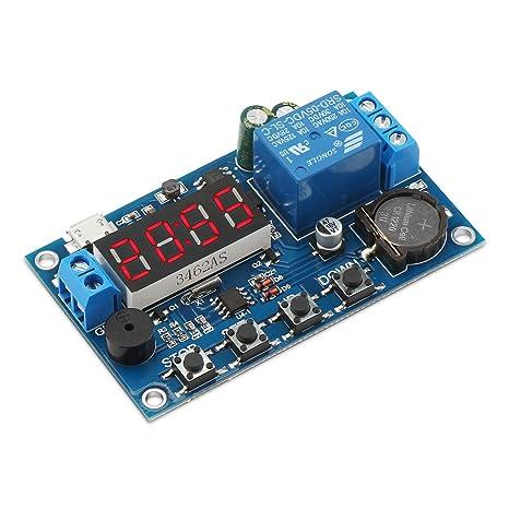 DROK Digital programable interruptor de tiempo reloj temporizador relé Junta DC 5 – 60 V de