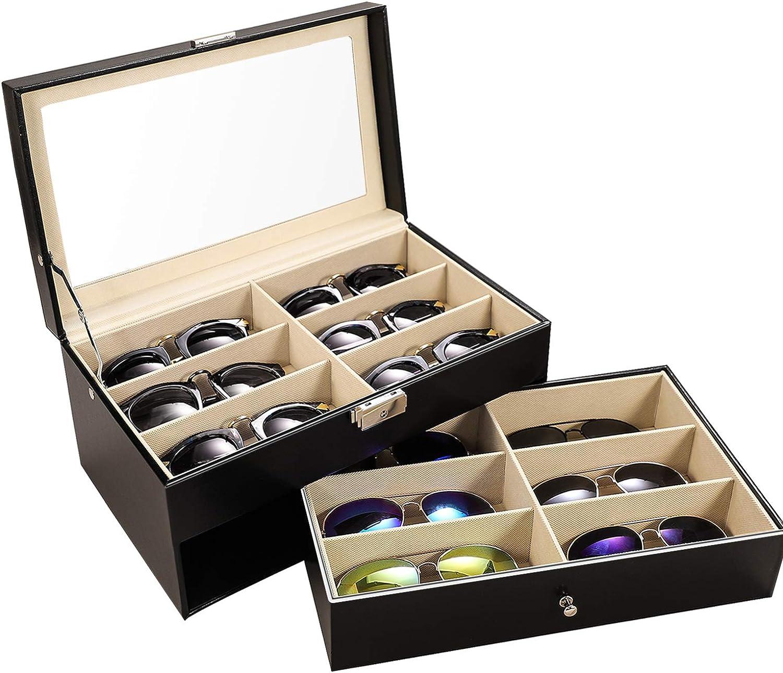 Meshela 12ranuras pantalla gafas de caso–Accesorio de gafas gafas soporte de gafas de sol cajón organizador bandeja
