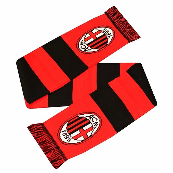 amazon com ac milan official soccer crest design bar scarf one