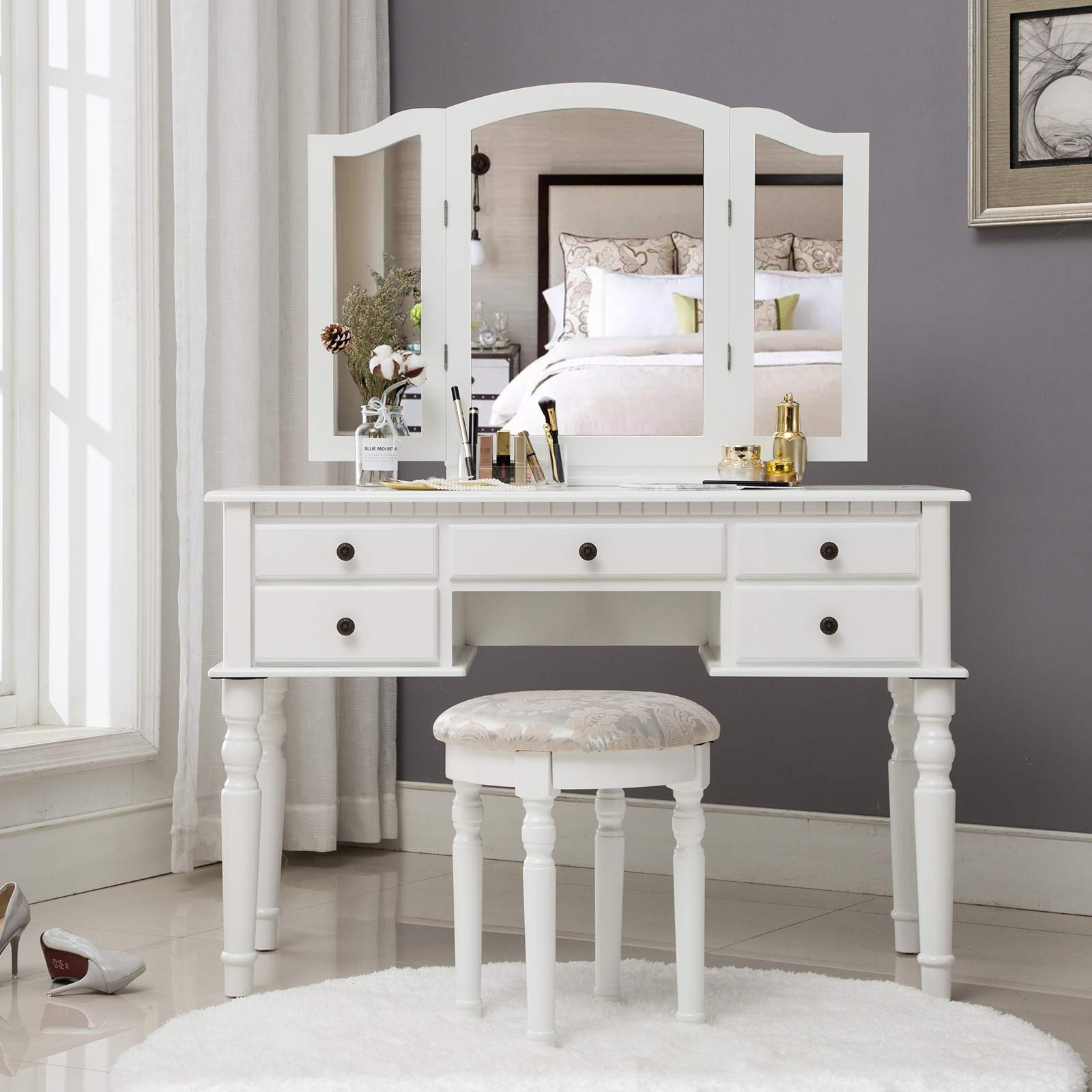 Unihome Makeup Vanity Table with Tri-Folding Mirror Dressing Table White Makeup Desk Vanity Table with Drawer Adult Makeup Table for Women
