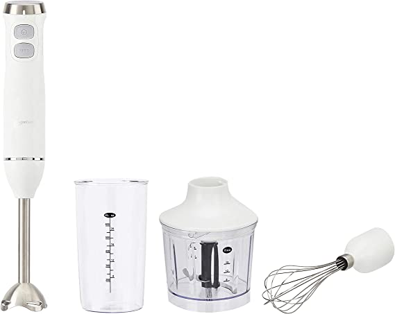 AmazonBasics Multi-Speed Immersion Hand Blender with Attachments - White