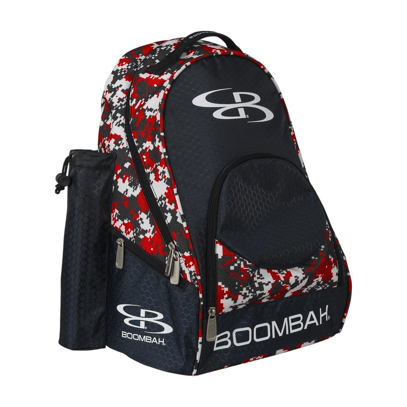 (ブームバー) Boombah Tyroシリーズ 野球/ソフトボールバットが収納できるバックパック 20x 15x10インチ 迷彩柄 20色展開 2-3/4インチまでのバットを2本収納可 B01MSSSQ4N ブラック/レッド ブラック/レッド