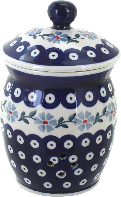 Blue Rose Polish Pottery Tulip Garlic Keeper