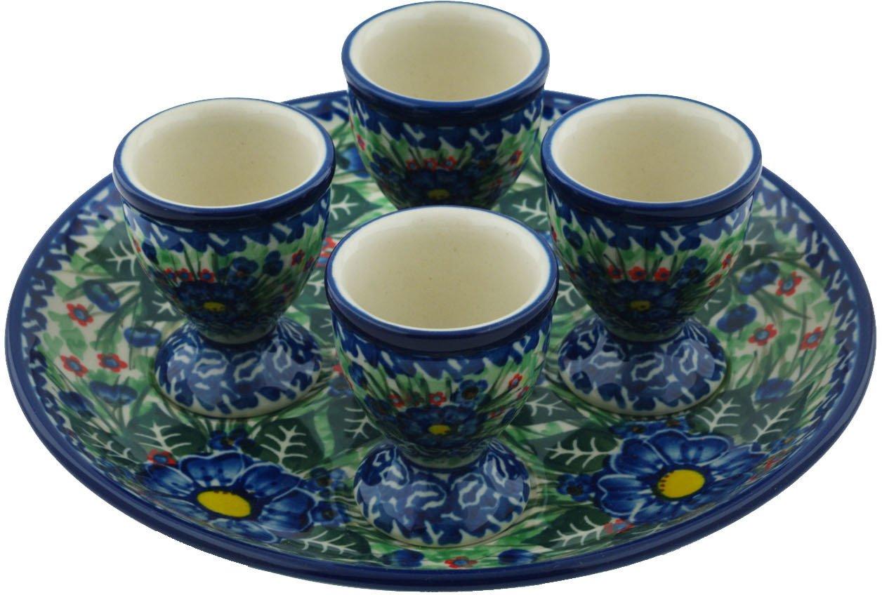 Polish Pottery Egg Server 8-inch Blue Bud Delight UNIKAT