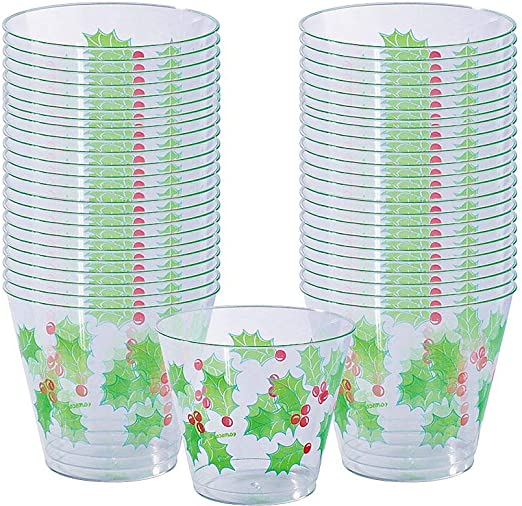 Amazon.com: Amscan – 40 Count Holly vasos de plástico Copa ...
