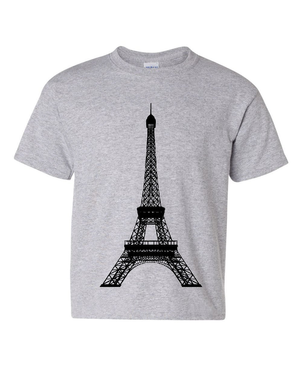 Eiffel Tower Youth T-Shirt Paris France Sightseeing Travel Europe Kids Tee Gray M