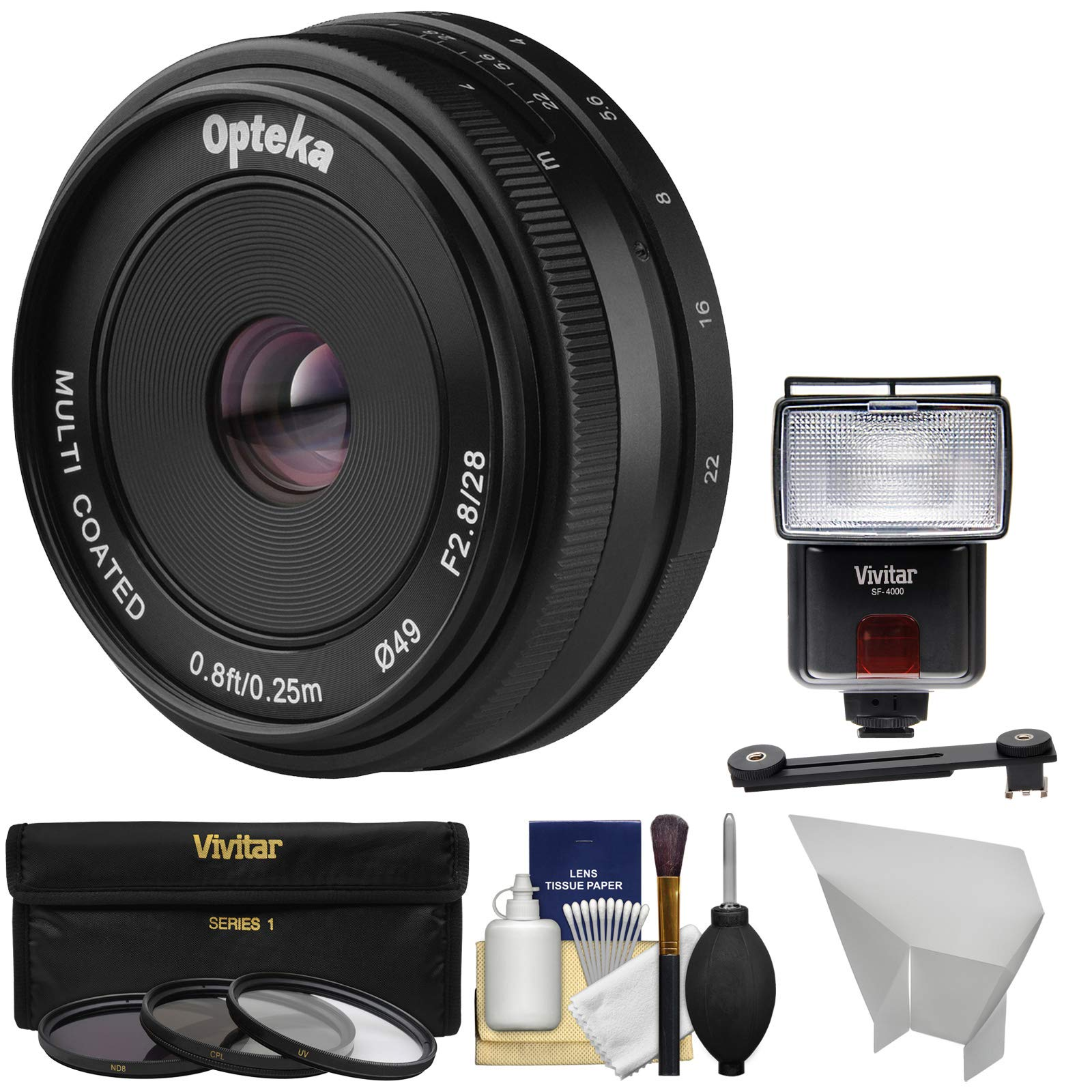 Opteka 28mm f/2.8 HD MF Prime Pancake Lens with 3 Filters + Flash + Diffusers + Kit for Sony Alpha E-Mount Digital Cameras by Opteka