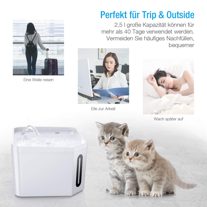 isYoung Trinkbrunnen, 2.5L Weiß Katzenbrunnen Automatisch Leise Haustier Wasserbrunnen für Katzen, Hunde,mehrere Haustiere