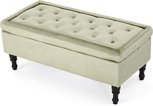 Christopher Knight Home Chantelle Velvet Storage Ottoman, Pistachio