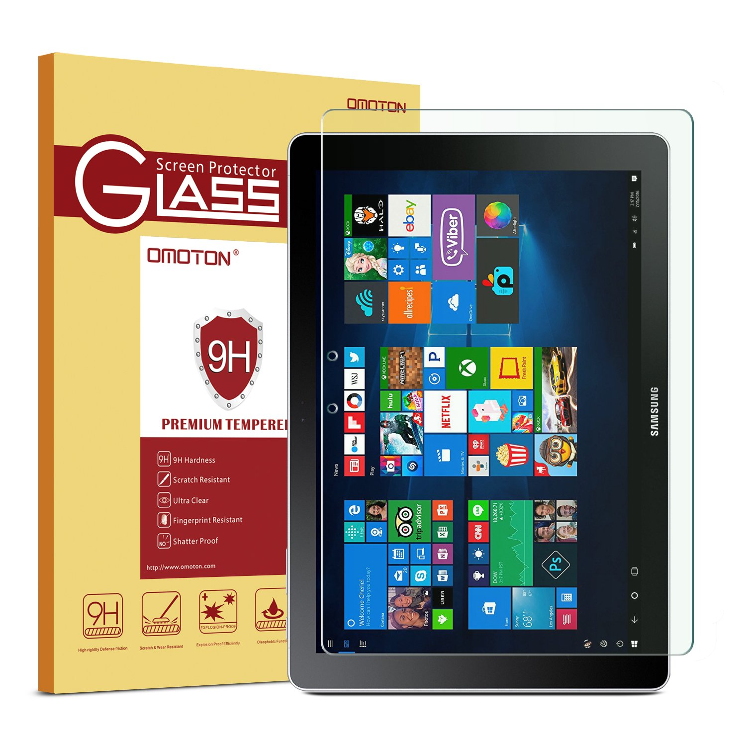 OMOTON Samsung Galaxy Book 12'' Screen Protector, Tempered Glass Screen Protector with [9H Hardness][Bubble-Free Installation] [Anti-Scratch] [Easily-Install] For Samsung Galaxy Book, 12 Inch by OMOTON