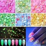 Luminous Nail Rhinestones, 6 Pots Party/Theme Glow in Dark Fluorescent Nails Gems, Over 330 Pcs NEON Night Polarized light 3D Nail Charms Decoration with Bonus Tweezers
