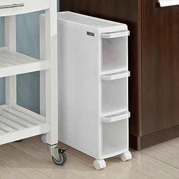 SoBuy® Regal Küche, Badezimmer Regal Mit Rollen, Regal Für Nischen U2013 3