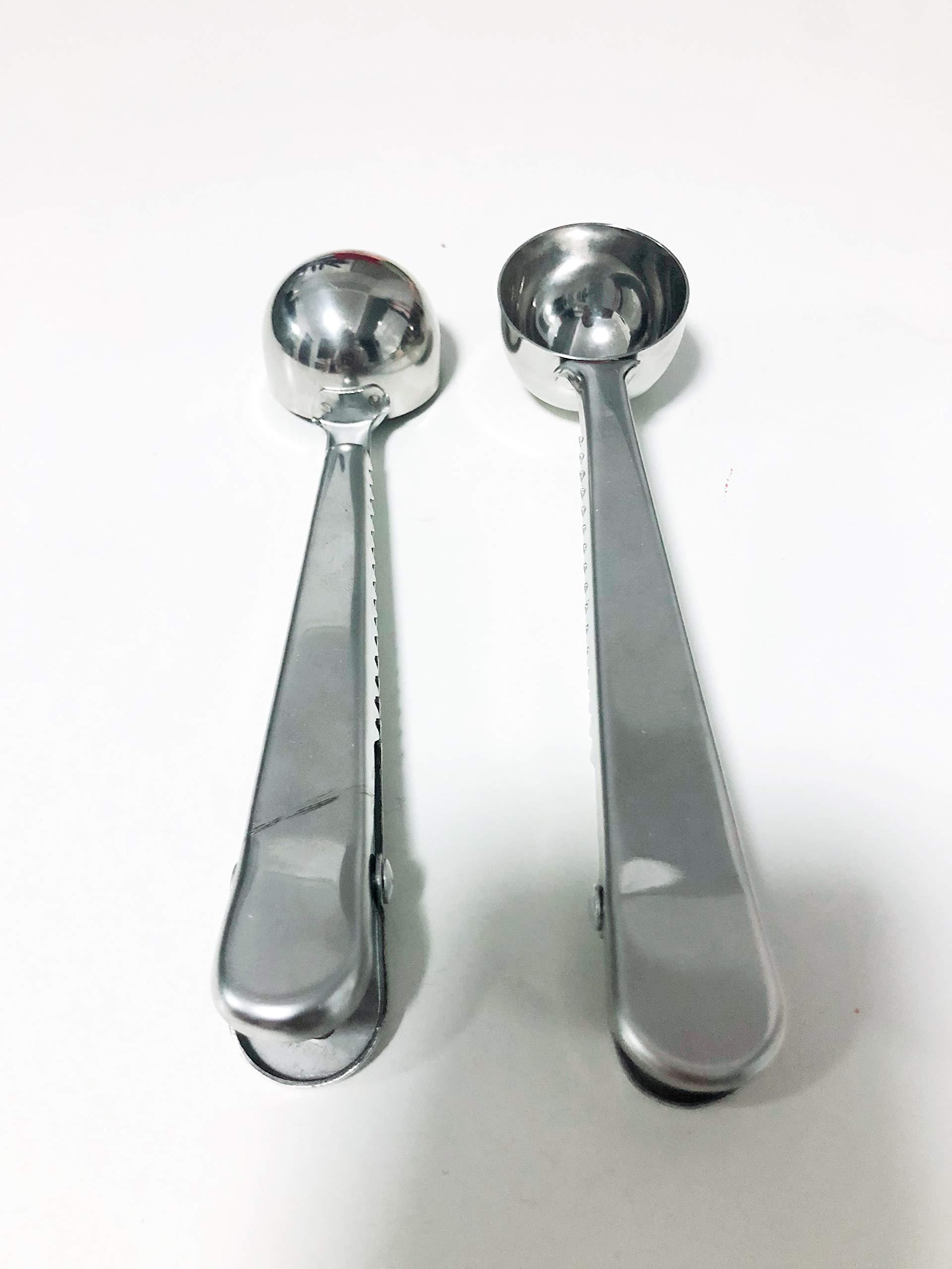 Stainless Steel Two-in-one Durable Bag Grip Clip & Coffee Spoon/Tea Scooper Food Storage - 2 Pack