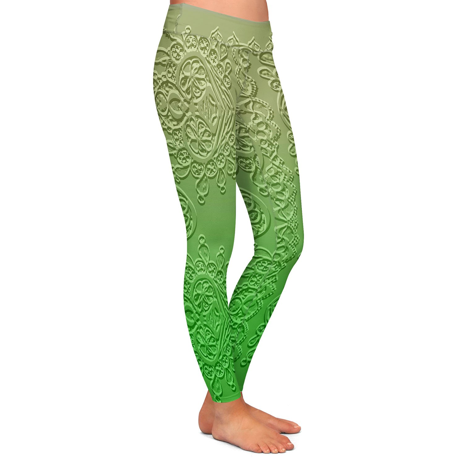 Grandmas Lace Online Lime Athletic Yoga Leggings from DiaNoche Designs by Susie Kunzelman