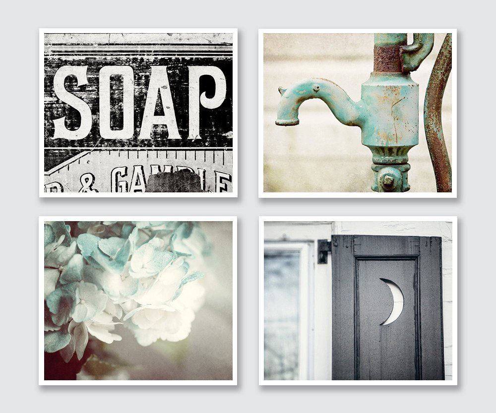 Amazon com  Bathroom Decor Set of 4 Photographs Discount Rustic Wall Art in Aqua Black and Teal Handmade