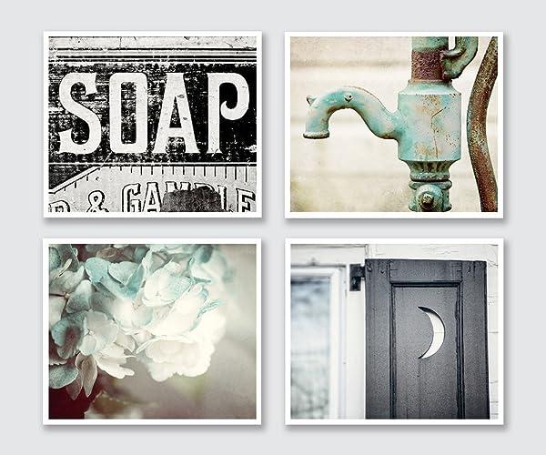 Bathroom Decor Set Of 4 Photographs   Discount   Rustic Bathroom Wall Art  In Aqua Black