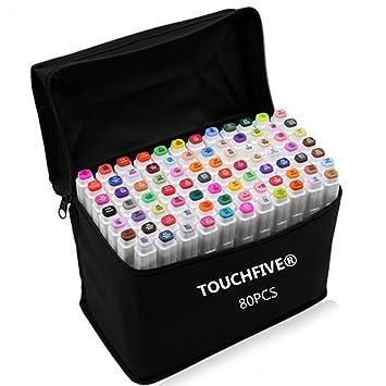 Touchfive Marker Lot De 80 Marqueurs à Double Pointes Brush Dans Un