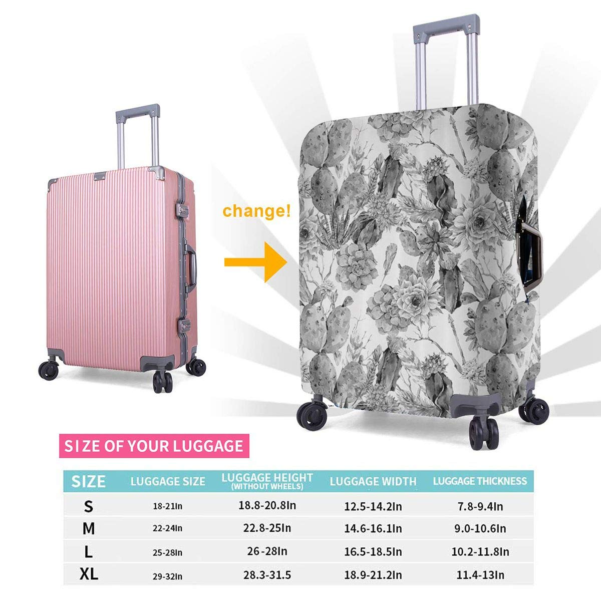 JHNDKJS Boho Style Monochrome Cactus Travel Luggage Cover Baggage Suitcase Protector Fit for 12-18 Inch Luggage