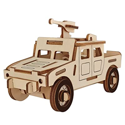 BestPysanky 44 Pieces Army Truck with Machine Gun Model Kit - Wooden Laser-Cut 3D Puzzle: Toys & Games